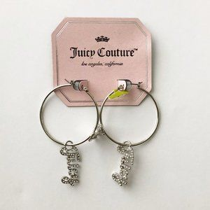 NWT! Juicy Couture Silver Hoops With Bows